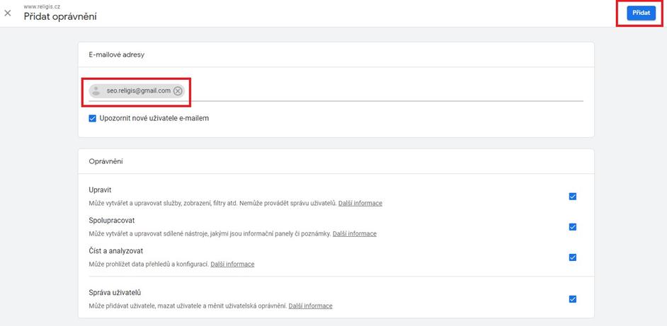 Přidání oprávnění v Google Analytics